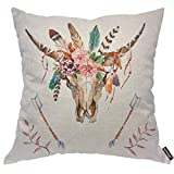 AOYEGO Watercolor Bull's Head with Flowers Throw Pillow Cover Cow Wreath Floral Bull Arrow Feather Leaf Ethnic Horn Wildlife Pillow Case 18x18 Inch Decorative Men Women Boy Girl Room Cushion Cover