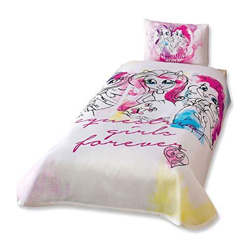 Equestria Girls Parure de lit double 100% coton Couvre-lit/couvre-lit Lot de 3 pcs