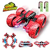 Pussan Remote Control Car for Kids Toy Gifts for 4-12 Year Old Boys Girls RC Stunt Cars Trucks RC Crawler Off Road 360 Degree Rotation 4WD Night Spin Car Summer Beach Toys for Children Red