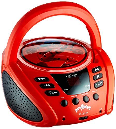Lexibook Miraculous Boombox CD-Player, Mikrofonanschluss, AUX-Eingangsbuchse, AC-Betrieb oder Batterie, RCD108MI, rot