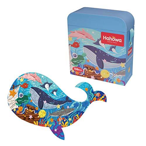 SmallPocket 108 Stück Wal Puzzle, Tier Puzzles Puzzle für Kinder, Lernpuzzles Spielzeug Idee Geschenk für...