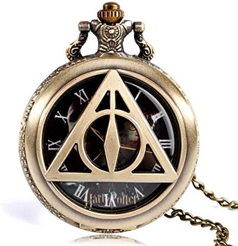 Reloj de Bolsillo Triángulo de Bronce Retro The Deathly Silliws Lord Análogo Bolsillo de Cuarzo Reloj Collar Coleccionistas Regalos para Hombres Mujeres Niños Oro Amazing