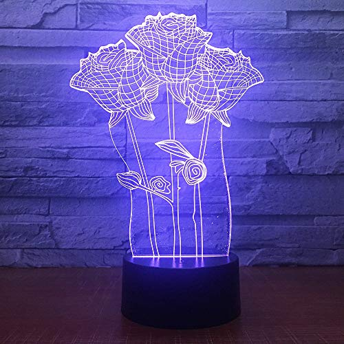 Multi-Color 3D Rose Flower Table lamp Romantic Gift Small Table lamp