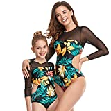 WBLKD Mamá Y Yo Swimwear Familia a Juego con Un Traje De Baño De Una Pieza para Mujer Rashguard Girls Bikini Conjuntos Green- Adult XL
