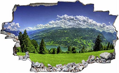 DesFoli Landschaft Gebirge 3D Look Wandtattoo 70 x 115 cm Wanddurchbruch Wandbild Sticker Aufkleber C071