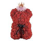 Oso de flor de rosa de corona de 25 cm, oso de flor único exquisito de animal rosa para regalos, flor de rosa preservada para el aniversario