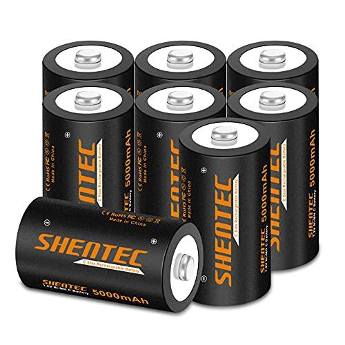 8 pezzi Batterie Ricaricabili C Shentec 1.2V 5000mAh Pile C Ricaricabili (Batteria Tipo C) 1200 cicli Mezzatorcia C HR14 Baby con Auto-Scarica Bassa