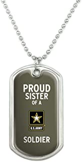 U.S. Army Proud Sister of a Soldier Military Dog Tag Pendant Necklace with Chain