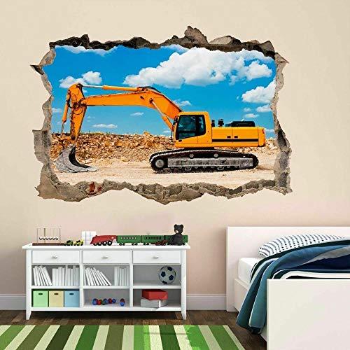 Excavadora Equipo De Construcción Máquina Arte De La Pared Etiqueta Mural Cartel Vinilos 3D Pegatinas De Pared 60x90 cm