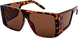 f89b3f889e MEIHAOWEI Gafas de sol a prueba de viento Mujeres Hombres Espejo de gran  tamaño reflectante Retro