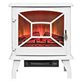Perfetto Kitchen and Bath 20' White Freestanding Log Bed 2 Setting Electric Fireplace Stove Heater