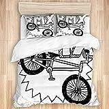 XWXBB Parure de lit avec housse de couette et taies d'oreiller pour BMX Wheel Pedal Bike Équipement Sport de récupération Fitness Gear Loisirs Gesund, Trendy Quilt, a01, King Size(220x240 cm)