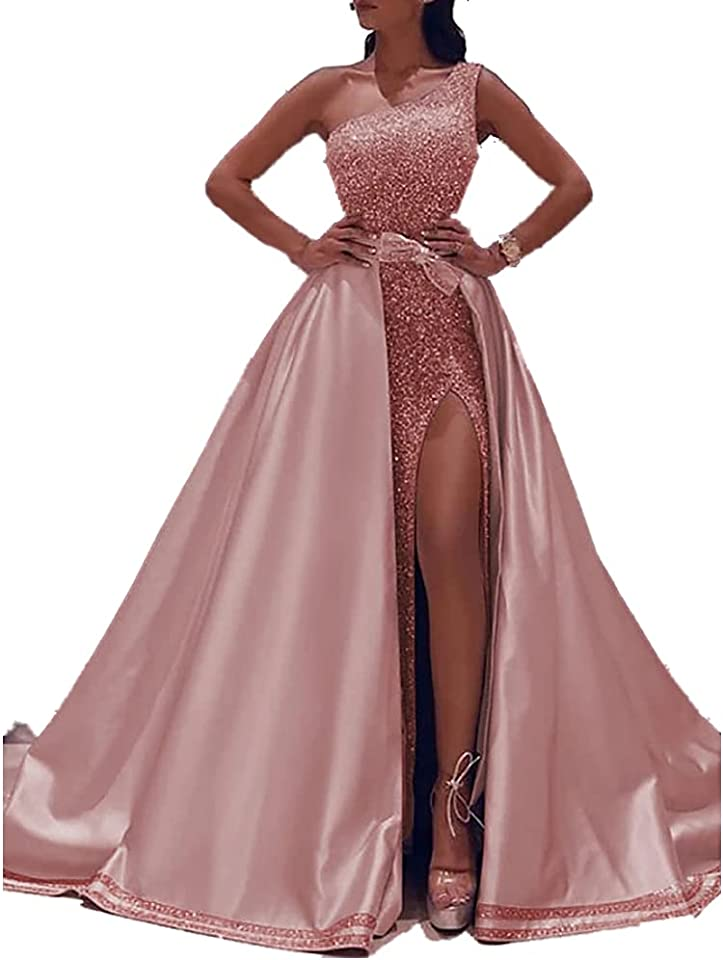 Ball Gown Sparkle Elegant Party Wear Prom Valentine's Day Dress One Shoulder Sleeveless Floor Length Satin with Bow(s) Sequin