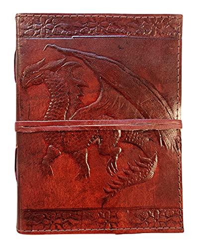 Kooly Zen - Taccuino con blocco note, diario, libro, vera pelle, vintage, drago medievale, 13 x 17 cm, 240 pagine, carta premium