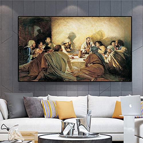 mmzki Last Supper Da Vinci Famosa Pintura al óleo sobre Lienzo Carteles e Impresiones Escandinavia Nordic Art Wall Picture for Living Room Decor