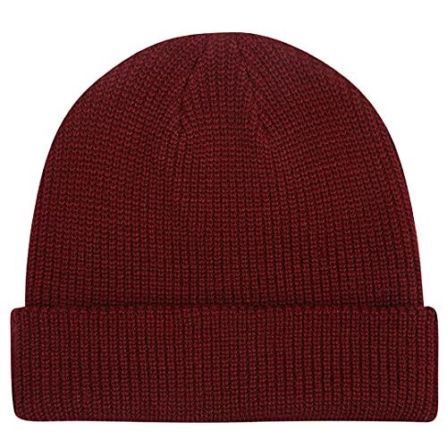 MaxNova Warm Winter Hat Thick Knit Hats Unisex Daily Slouchy Beanie Skull Cap Burgundy