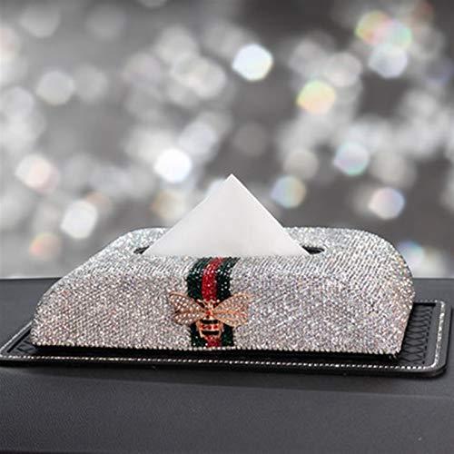 Strass Auto Tissue Box Halter Schmetterling Armaturenbrett Serviette Organisator-Speicher for Zubehör (Color Name : White)