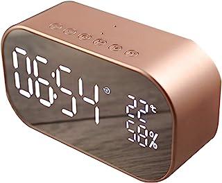 Digital Radio Alarm Clock,Wirless Bluetooth Speaker Clock USB Charging AUX TF Card Play for Desktop(Rose Gold)