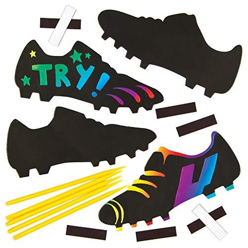 Baker Ross Kratzbild-Magnete - Fußballschuhe - scratch art mit Regenbogenfarben für Kinder zum Basteln (10 Stück)