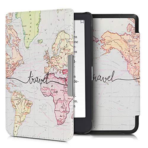 kwmobile Tolino Shine 3 Hülle - Kunstleder eReader Schutzhülle Cover Case für Tolino Shine 3 - Travel Schriftzug Design Schwarz Mehrfarbig