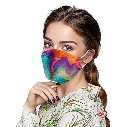 Erwachsene Gesichts_Maske, TJCJIEM Bunte Persönlichkeit Schutz_Maske, 4-Lagen-Vliesschutz 3D-Fischform Struktur Gesichts_Bedeckung Design, Schutz_Maske mit Gefilterter, Einweg_Maske Für Damen Herren