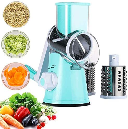 Vegetable Mandoline Chopper Rotary Cheese Grater with 3 Interchangeable Blades Easy to Clean product image