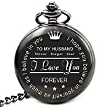 LEVONTA Husband Gifts from Wife Anniversary Birthday Valentines Fathers Day Engraved Pocket Watch