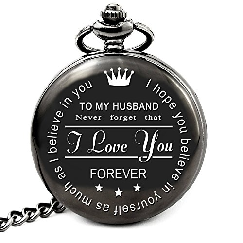 Husband Gifts from Wife Anniversary Gifts for Husband Engraved Pocket Watch with Chain (to My Husband)