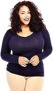 Womens Ladies Plus Size Curvy Cotton Basic V-Neck Long Sleeves Tops (2xl, navy)