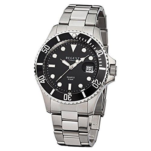 Regent Herren-Armbanduhr Elegant Analog Stahl-Armband silber Quarz-Uhr URF371