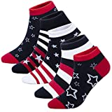 KONY Womens 5 Pairs Lightweight Cotton Novelty Low Cut Ankle Socks, Unique Fun Gifts for Teen Girls Size 6-10 (American Flag)