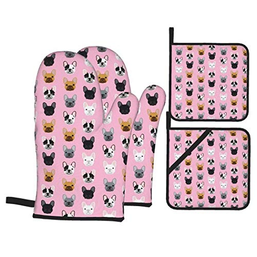 Frenchie Dog Pink Faces Cute Dog Head Girls French Bulldogs Girly Oven Mitts and Pot Holders 4pcs Set Kitchen Oven Glove and Pot Holders Non-Slip Kitchen Gloves for Cooking Baking Grillin