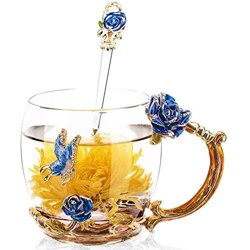 VANUODA Bleifreie Handgemachte Tasse,Emaille Blume Glas Teetasse Becher Löffel,Personalisierte Muttertag Geburtstag Geschenke für Frauen Mama Oma Mädchen Mutter Freundin, (Blau)
