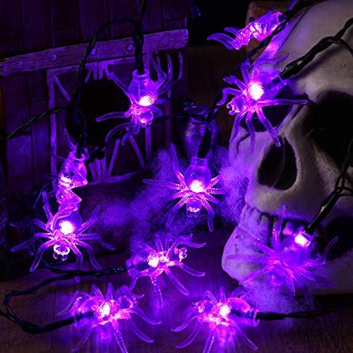 BrizLabs Halloween Cadena de Luces, 30 LED Araña Guirnalda Luces a Batería 3D Interiores Lámpara para Halloween Navidad Festival Fiestas Casa Cosplay Garden Decoración, Púrpura