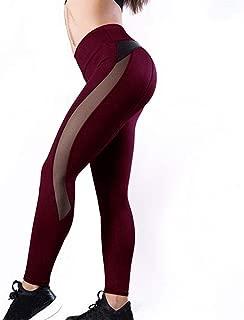 Leggings De Cuero De Malla De Moda para Mujer Leggings De Entrenamiento Deportivo Leggings De Malla De Mujer De Cuero PU De Retazos (Color : Wine red, Size : M)