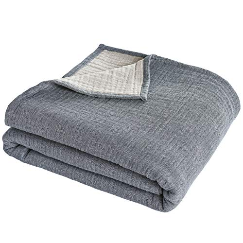 """PHF 100% Cotton 3 - Layer Adult Muslin Blanket Twin Size 66"""" x 90"""" - Soft Skin-Friendly Breathable and Lightweight - Perfect for Home Decoration Couch Bed Sofa for All Season Grey Bluish"""