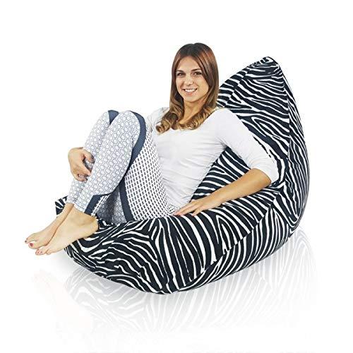 Italpouf Pouf Sacco Design Bermuda XL Poltrona Sacco Seduta XL Pouf A Sacco Tessuto Morbido Pouf Sfoderabile! Puff Imbottito! 28 Diverse Fantasie! (Zebrato)