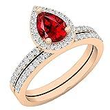 Dazzlingrock Collection 10K 7X5 MM Pear Garnet & Round Diamond Ladies Bridal Teardrop Engagement Ring Set, Rose Gold, Size 7