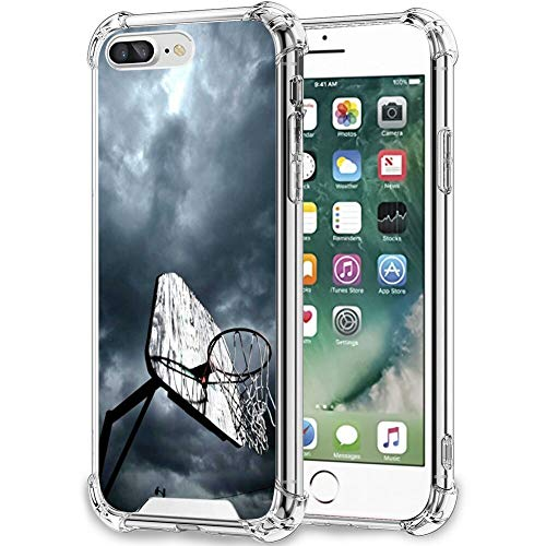 UZEUZA Funda para iPhone 7/8 Plus transparente parachoques cubierta anti-arañazos bordes transparentes con aro de baloncesto