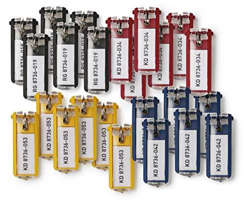 Durable Schlüsselanhänger Key Clip, einfach aufklappen & beschriften, 24 Stück, farbig sortiert, 194927