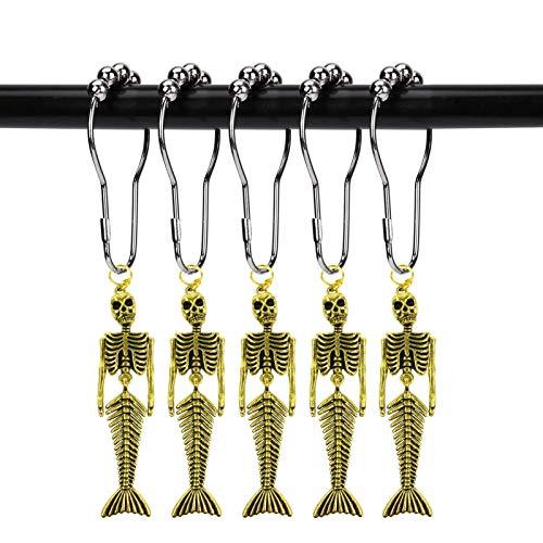 ZILucky 12 x Meerjungfrau-Skelett-Duschvorhang-Haken, Fantasie-Dekoration, für Zuhause, Badezimmer, rostfrei, Duschvorhang-Ring, Halloween-Dekoration (Meerjungfrauenschädel Gold)