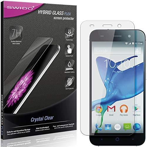 SWIDO Panzerglas Schutzfolie kompatibel mit ZTE Blade L6 Bildschirmschutz-Folie & Glas = biegsames HYBRIDGLAS, splitterfrei, Anti-Fingerprint KLAR - HD-Clear