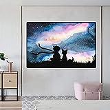 JHGJHK Mural Impresión de Lienzo Ilustración Decoración del hogar Película del Principito Imagen Modular Cartel de Estilo nórdico Habitación de los niños Pintura al óleo (Imagen 4)
