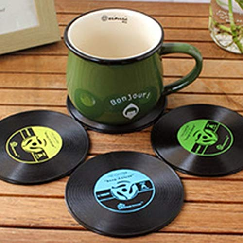 XGQ 4 PCS Retro Black Vinyl CD Record Posavasos for Bebidas Home Table Cup Mat Decor Coffee Drink Placemat Vajilla Spinning, Diámetro: 10 cm, Entrega de Color al Azar