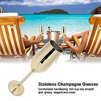 ホームパーティー用シャンパングラスゴブレット、飛散防止カップワインカップ(ゴールド)