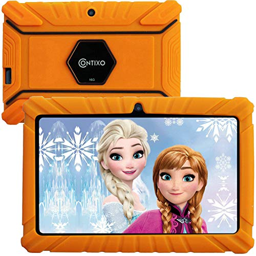 Contixo V8-2 7 inch Kids Tablets - Tablet for Kids with Parental Control - Android Tablet 16 GB HD Display Durable Case & Screen Protector WiFi Camera-Learning Toys for 2 to 10 Years Old, Orange