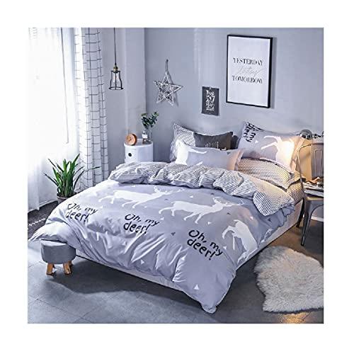 Conjunto de tapa de edredón de ropa de cama 4 unids Double Duvet Ropa de cama Conjunto de camas con cierre de cremallera y 2 fundas de almohadas con funda de almohada a juego, ultra suave,E-1.8