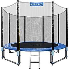 Monzana trampolin dia. 305 cm TÜV SÜD GS Certifierat komplett set inkl. skyddsnät, stege, kantskydd & tillbehör – barntradstudslinje trädgårdstudsmatta