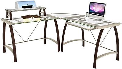 Amazon Com Realspace Vista Glass 76 Quot W L Shaped Desk