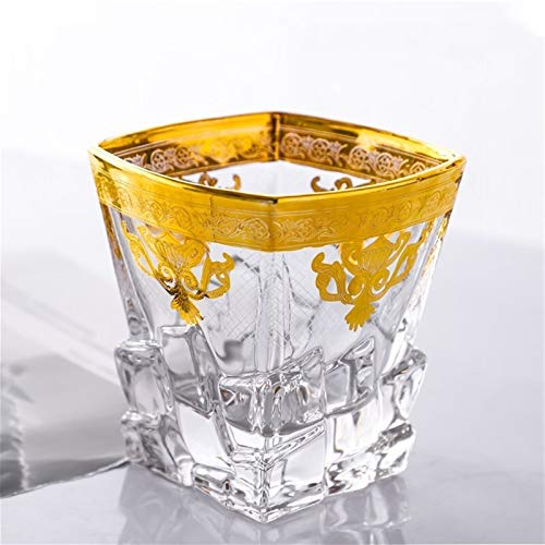 WAWAYU Whiskyglas, 2ST Handgemalte Goldkristallglas Whisky-Glas Foreign Weinglas Kaffeetasse Wasserglas Bierglas Kreative (Size : A)